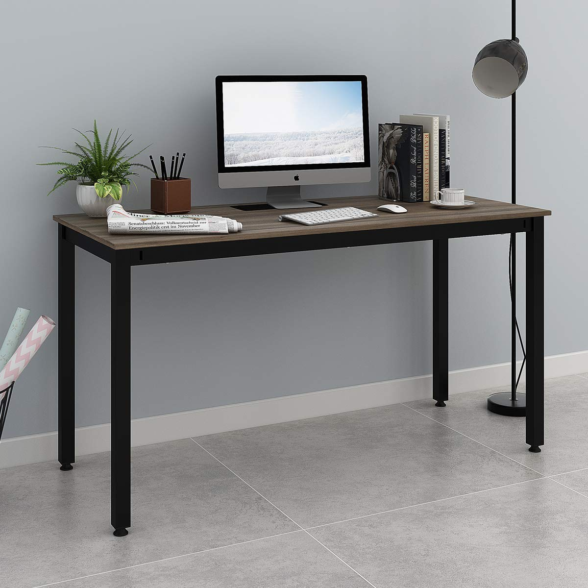 "DEVAISE Computer Desk 55"" Large Size, Home Office Desk with Cable Organizer / Black"