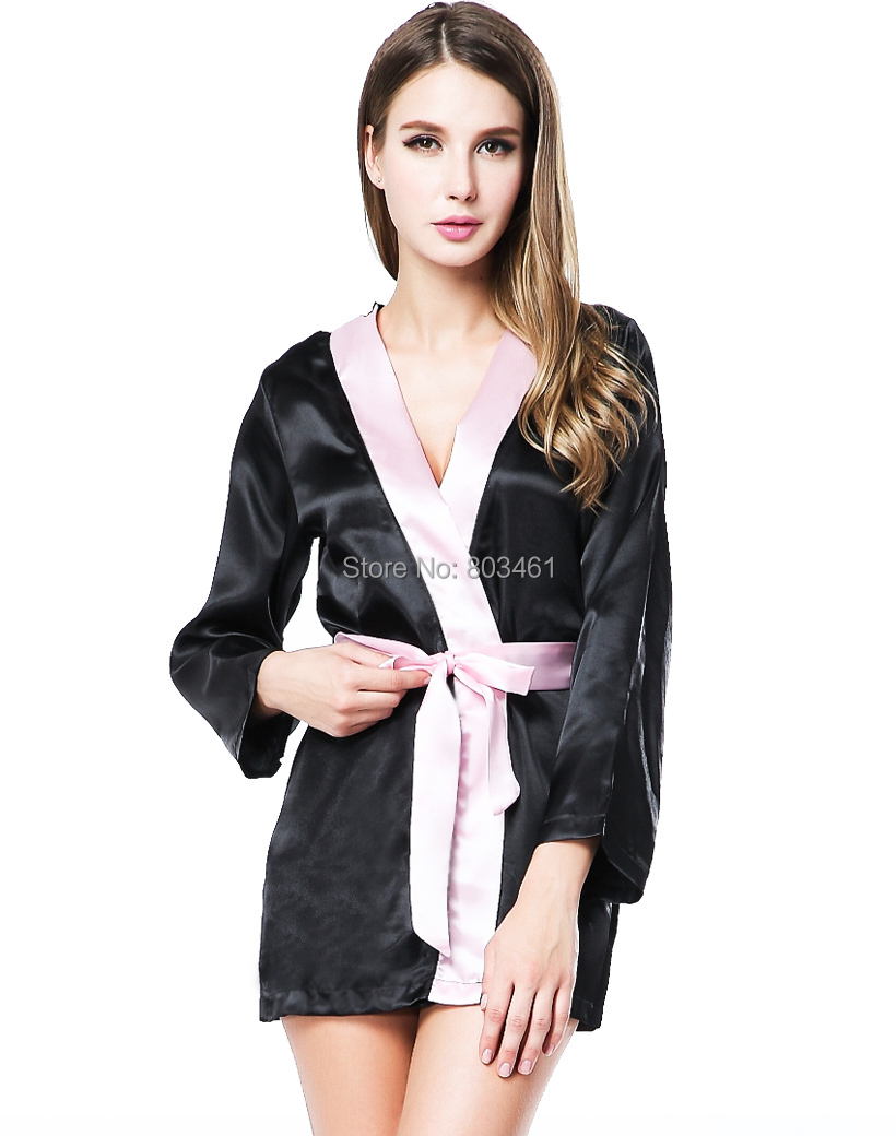 18b835c5fc3 Get Quotations · new Sexy Lingerie Satin Black Kimono Intimate Sleepwear  Robe Night Gown Black Satin Sleepwear For Women