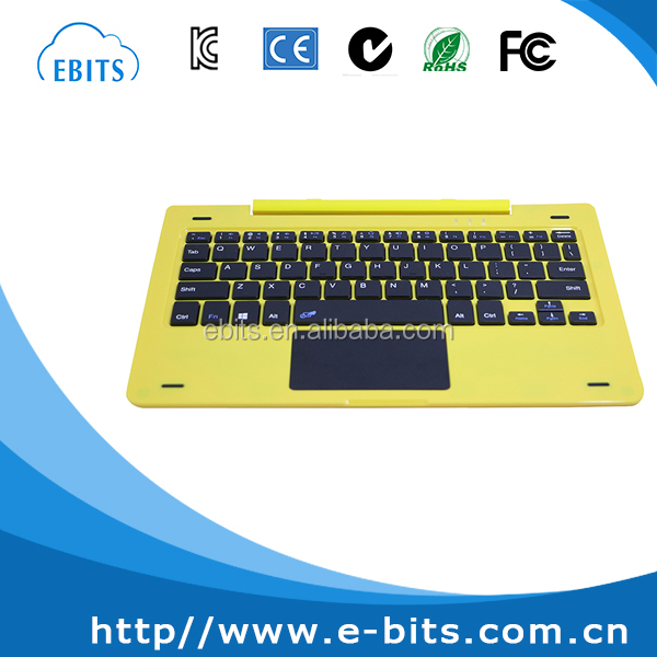 Yellow cartoon style free rotatable pin docking keyboard with usb port