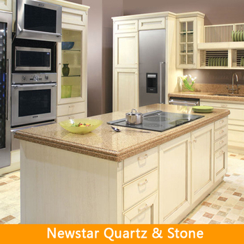 Full kitchen with island and countertop buy commercial for Prefab quartz island