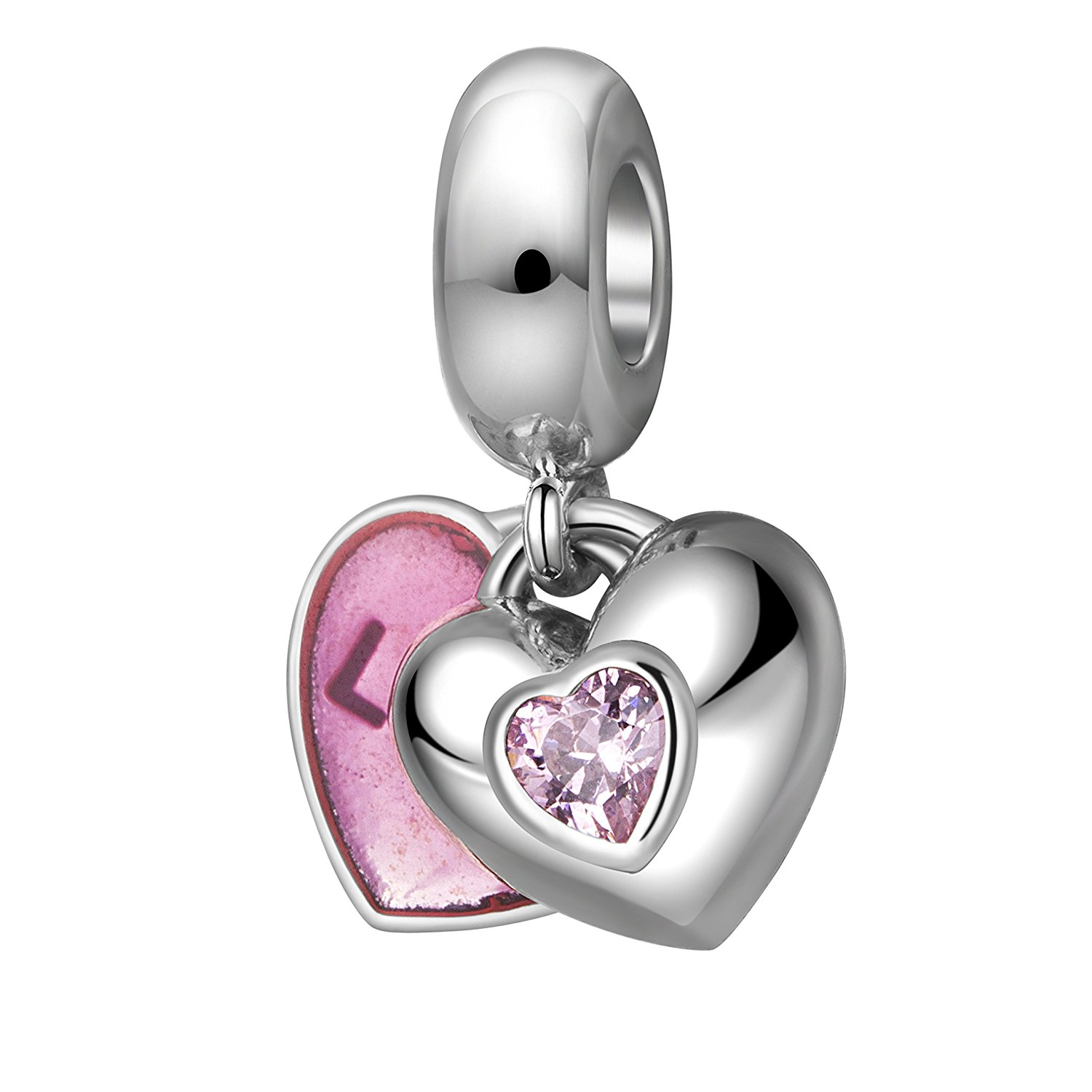 get quotations love heart charms 925 sterling silver lover couples christmas charms for braceletanniversary gifts