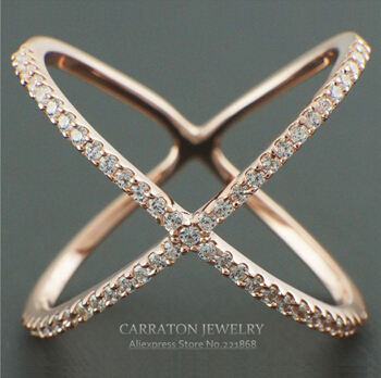 "Sterling Silver Jewerly Wholesale Knuckle Ring Cubic Zirconia Criss Cross ""X"" Finger Ring"
