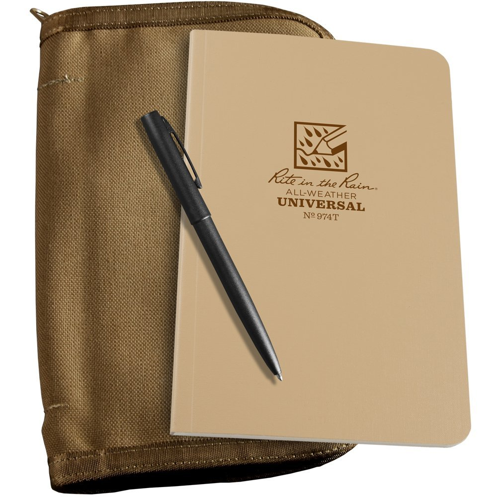 """Rite in the Rain All-Weather Bound Book Kit: Tan CORDURA Fabric, 4 5/8"""" x 7 1/4"""" Tan Notebook, and All-Weather Pen (No. 974T-KIT)"""