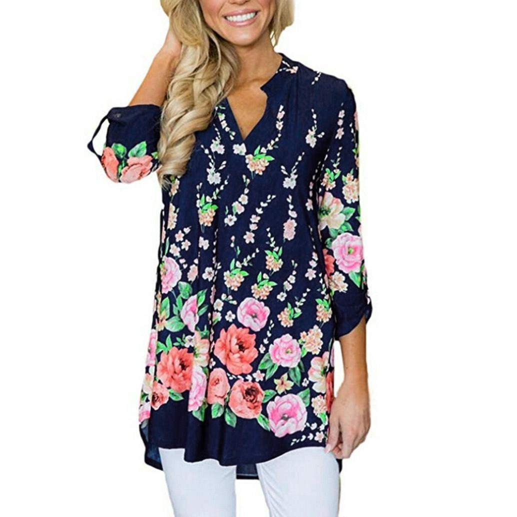 Joint Clearance Fashion Women Casual V Neck Split Floral Print Cuffed Sleeve Shirt 3/4 Sleeves Blouses Plus Size Tops (XX-Large, Navy)