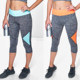 Joggers Women's Fashion Digital Print Stretchy Sexy Footless Leggings Tights Neon Trim 3/4 Capri Running Leggings Fitness