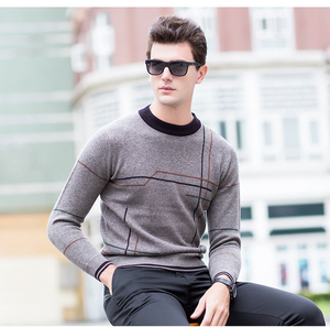 Crew neck breathable trendy men pullover sweater knitwear