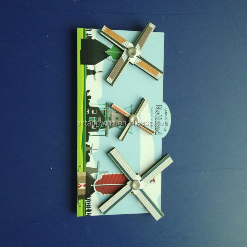 Factory price wind turbines 3d wooden fridge magnet