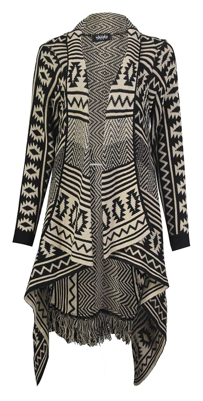 8b3d9e8479eba Forever Womens Aztec Tribal Stripe Diamond Print Frill Knitted Waterfall  Cardigan