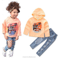 2018 Spring Cheap Hot China Manufacturers Little Kid Girls Clothes Simple Design Children Hooded Clothes Clothing Sets Wholesale