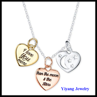 Fashion Silver Stone Engraved Letters Heart Pendant Necklace