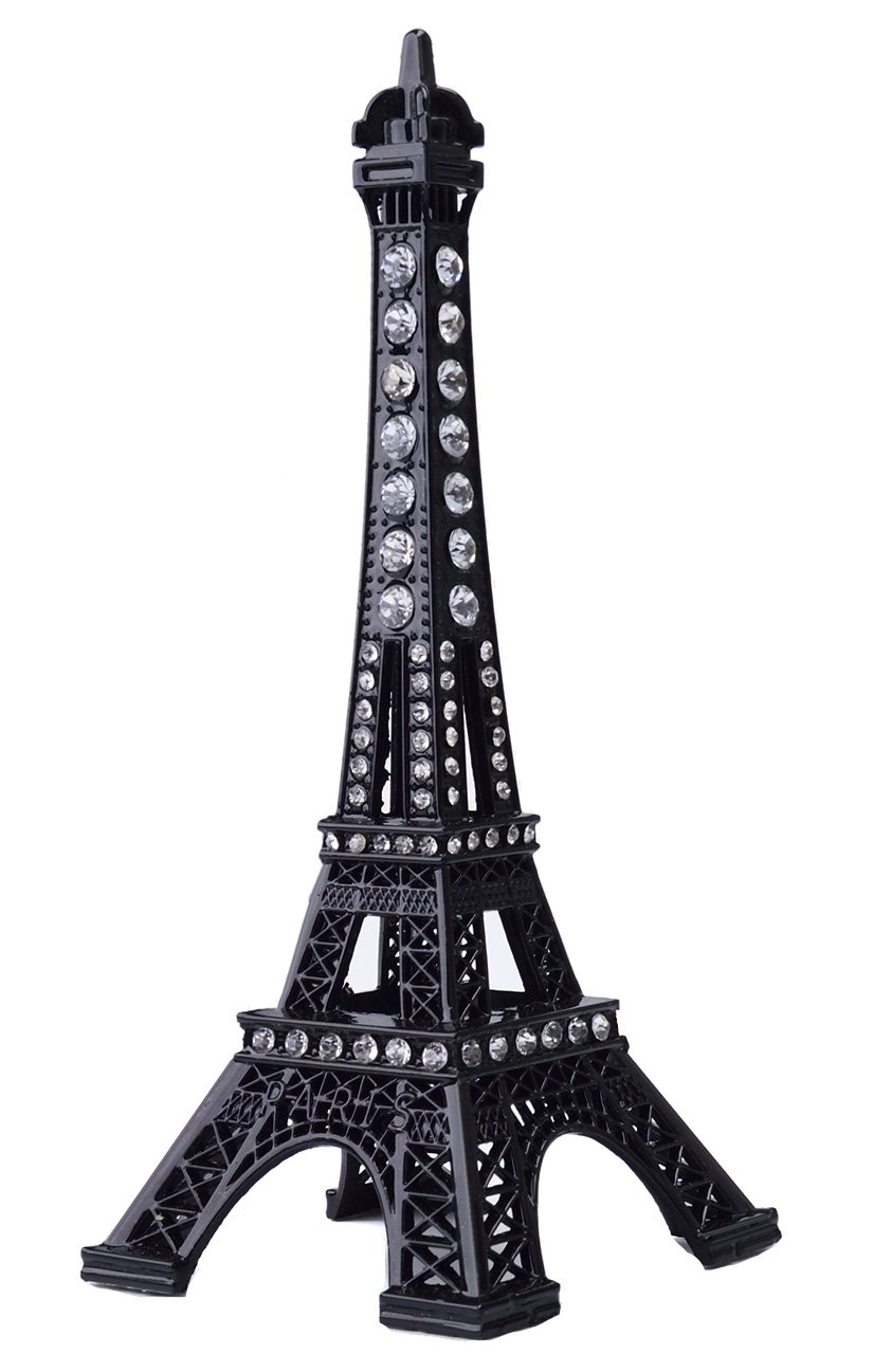 Eiffel Tower Cake Topper,JoyFamily 7Inch (18cm) Metal Paris Eiffel Tower Decor Statue Figurine Replica Drawing Room Table Decor for Gifts,Party And Home Decoration(Black)