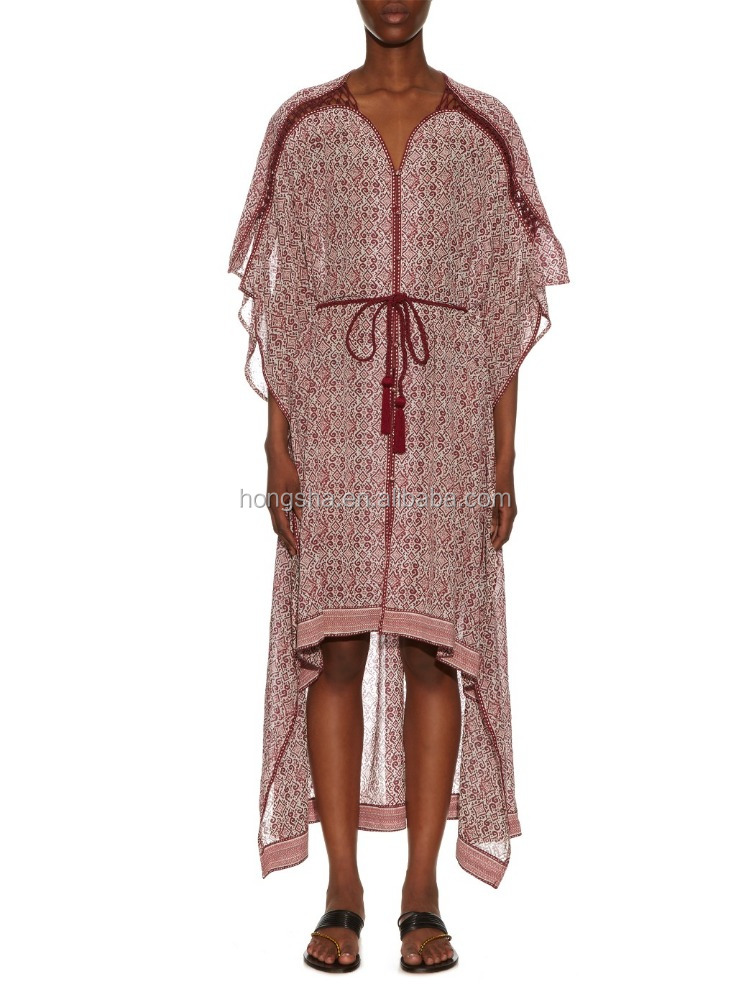 Sexy Sheer breezy Block-print Silk-crepe Kaftan Dress With Butterfly Sleeves Moroccan Ladies Caftan Dubai Beach Wear HSK5673