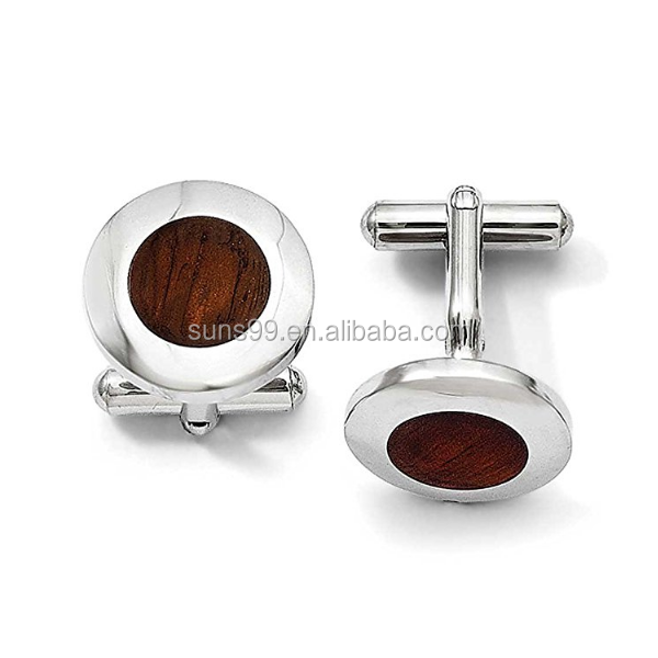 High Polished Men's 316l Stainless Steel Wood Inlay Round Cuff Links