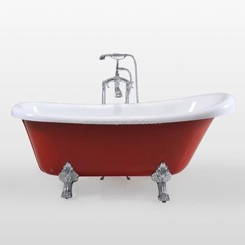 Red Acrylic Freestanding Bathtub Red Clawfoot Bathtub Bath Tub Red ...
