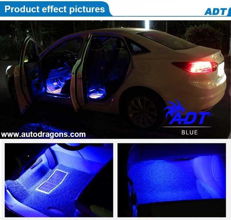 4pcs Rgb Led Easy Installation Auto Floor Decoration Lamp Car Interior Atmosphere Light Kit