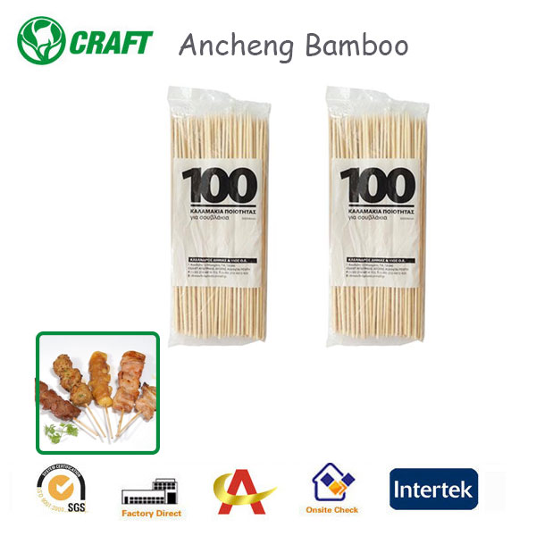 100% Dried Sterile Bamboo 30cm Disposable Wooden bbq Sticks for Outdoor BBQ