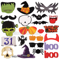 22pcs Halloween Photo Booth Props Fun Mustache Scary Boo Party Mask Trick or Treat Kids Photography Supplies photo props