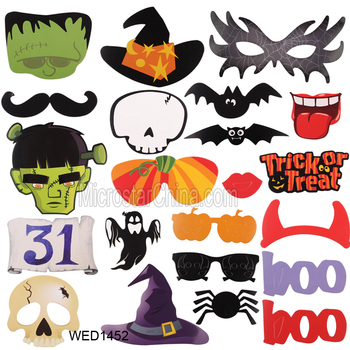 22pcs halloween photo booth props fun mustache scary boo party mask trick or treat kids photography - Halloween Photography Props