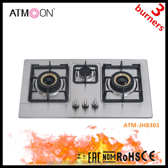 76cm Stainless Steel Built-in Gas Stove/ Cooking Hobs/ Cooktop/ Cooker Hobs 3 Wok Burners
