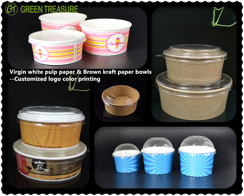 Compostables de papel impreso hielo crema 4oz 6oz 8oz 12oz 16oz de crema de hielo taza de papel