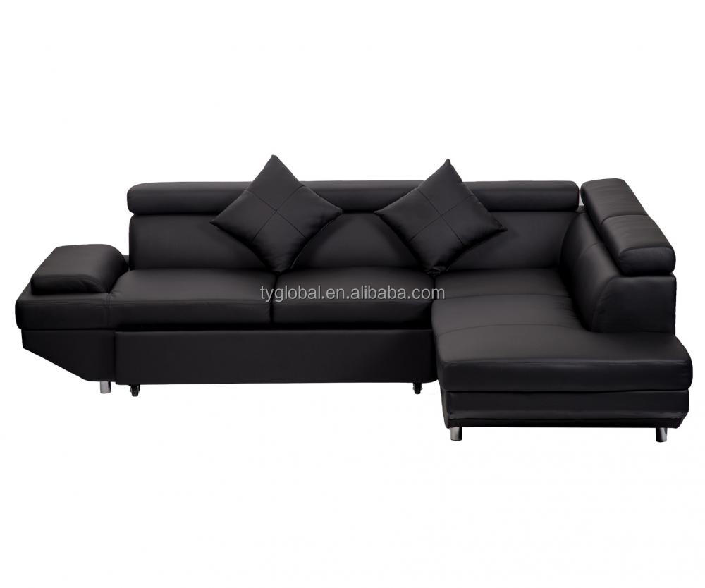 Luxury Sectional Modern Black R Shape <strong>Sofa</strong> Bed with Functional Armrest Living Room <strong>Sofa</strong>