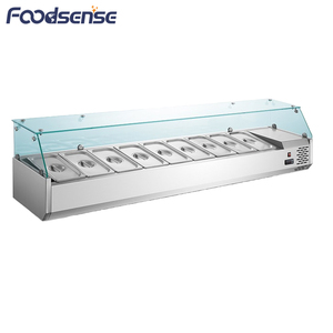 Supermarket salad equipment display showcase refrigerators, commercial countertop salad bar refrigerator sale