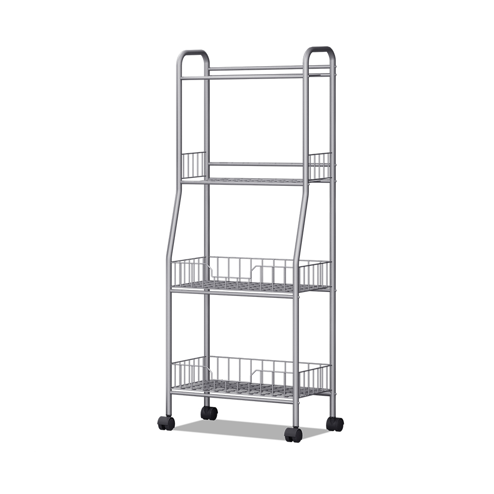 Modern design muti-function movable 4 tier light duty metal storage rack <strong>shelves</strong> with wheel