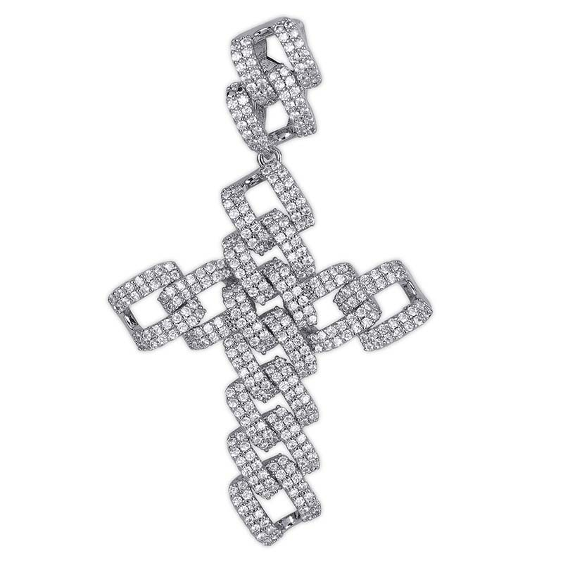 Ins custom Pendant Necklace Iced Out Cubic Zircon Hip Hop cross necklace Men Charm Chain Jewelry drop shipping фото