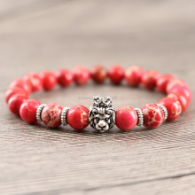 Boho Mens Perles Bracelet 8mm Rouge Regalite Antique Lion Charme Force Simple Bracelet Fait Main D'amitié Gifs Bracelet