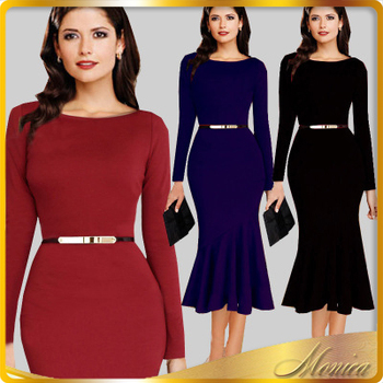 Long Sleeve Vintage Dress With Belt Elegant Plus Size Clothing