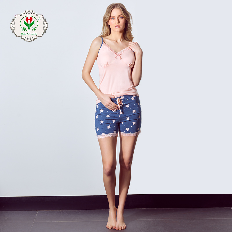 Cheap Factory OEM Summer Sleepwear Cotton Knit Shorts Pajama Sets
