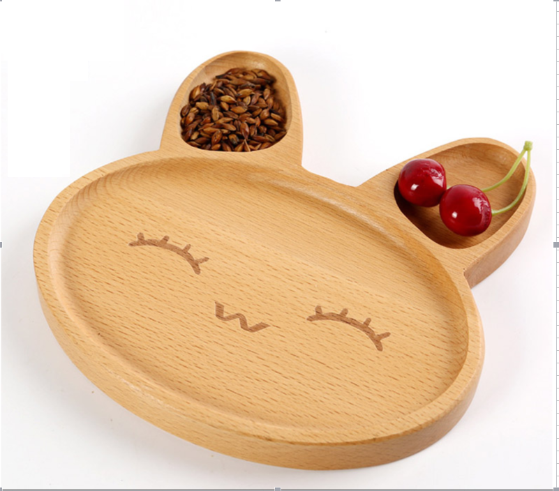 Beech Natural Wooden Rabbit Dish Kid Animal <strong>Plate</strong>