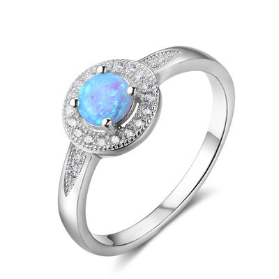 925 Sterling <strong>silver</strong> round shaped with blue opal stone ring for women