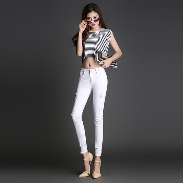 2016 Summer Fashion High Waist Pockets Women Pants Ripped White Sexy Skinny Jeans