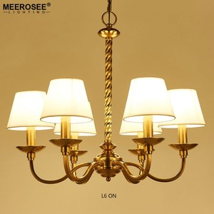 MEEROSEE Wrought Iron Chandeliers With Fabric Lampshade Brass Unique Hanging Lamps for Living Room Lighting Fixture MD85133-L6