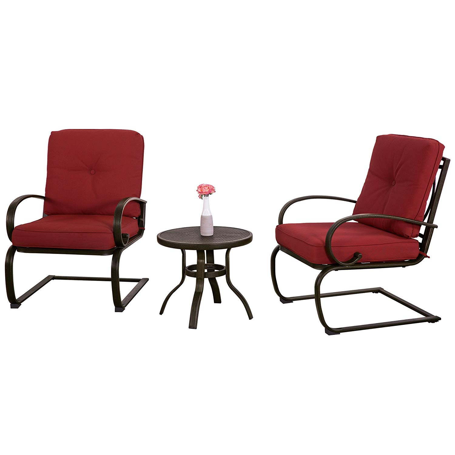 Get quotations · care 4 home llc patio garden porch conversation coffee set round table and 2 upholstered