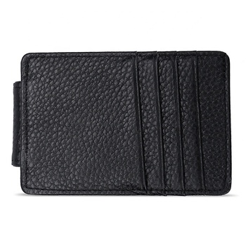 Real Cowhide Leather card holder Leisure simple magnetic buckle US dollars card wallet