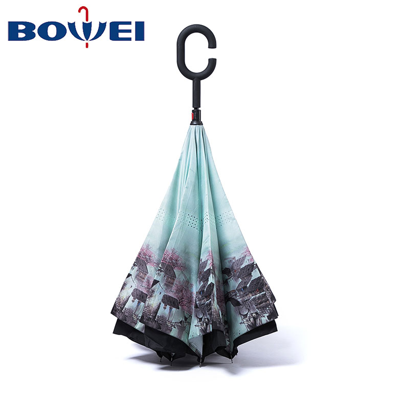 Custom outdoor pongee c handle windproof reverse umbrella inverted