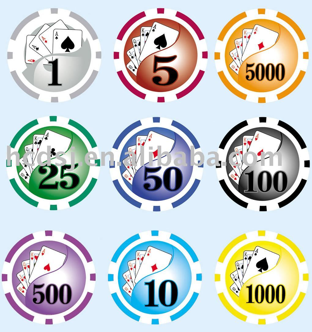 sticker poker chip with different value number