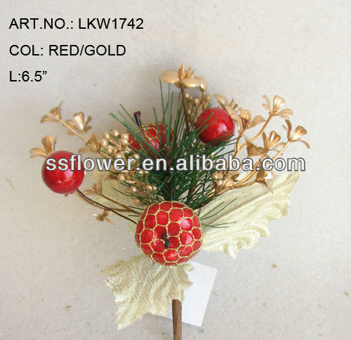 "2014 New Style Artificial Christmas Red Fruit Pick 6.5"" Artificial Polyfoam With Berries and Pineneedle Pick"