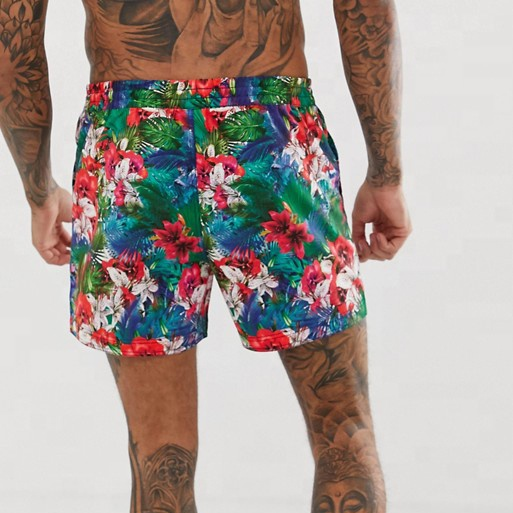customized printing swimwear sexy man 100% polyester swim shorts with floral sublimation surf swim <strong>trunks</strong>