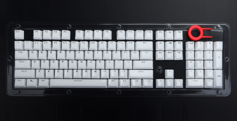 New White Crystal Pbt Keycaps For Cherry Mx Mechanical