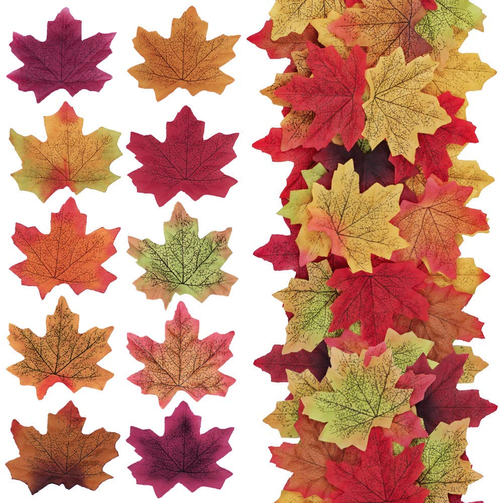 """Supla 500 Pcs 10 Colors Assorted Fake Silk Autumn Maple Leaves Bulk Artificial Fall Leaf Foliage 3.15"""" L X 3.15"""" W Thanksgiving Table Door Fall Wedding Party Birthday Baby Shower Decorations"""