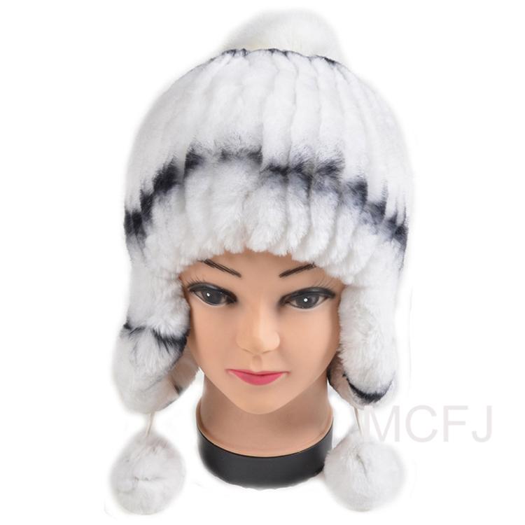 b58ad24a482 Get Quotations · free shipping Hot Genuine Rabbit fur hat new woman Fur cap  Tassels Stripes Rabbit Fur Beanies