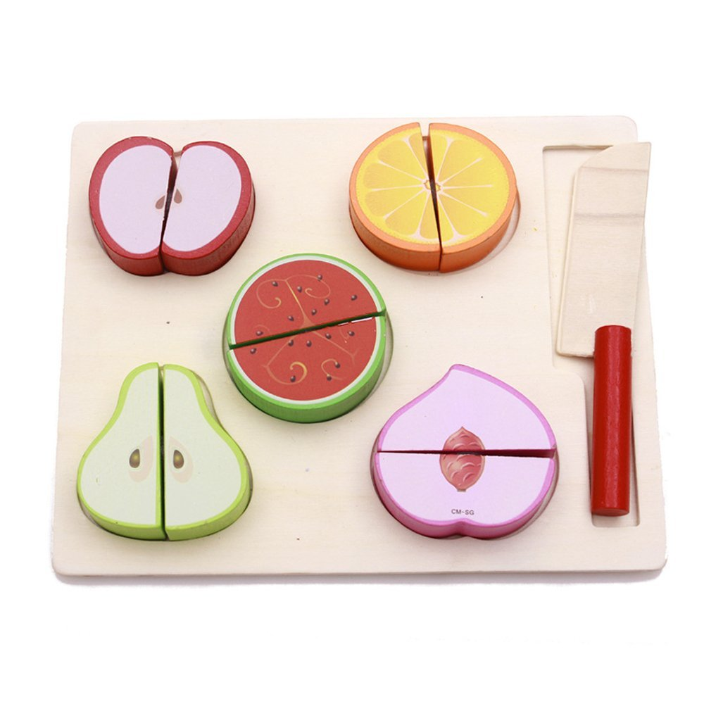 Kidcia 7 Pcs Kids Pretend Play Food Toys Food Fruit Cutting Set for Toddlers