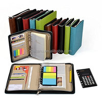Assorted Color A5 PU Leather Agenda Organizer Zipper Binder Business Zippered Portfolio