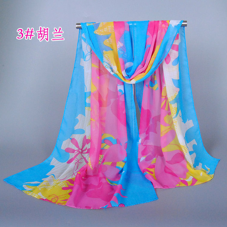 Wholesale Women Cartoon Floral Silk Scarf Popular Scarves Shawl 160*50 Pashimina