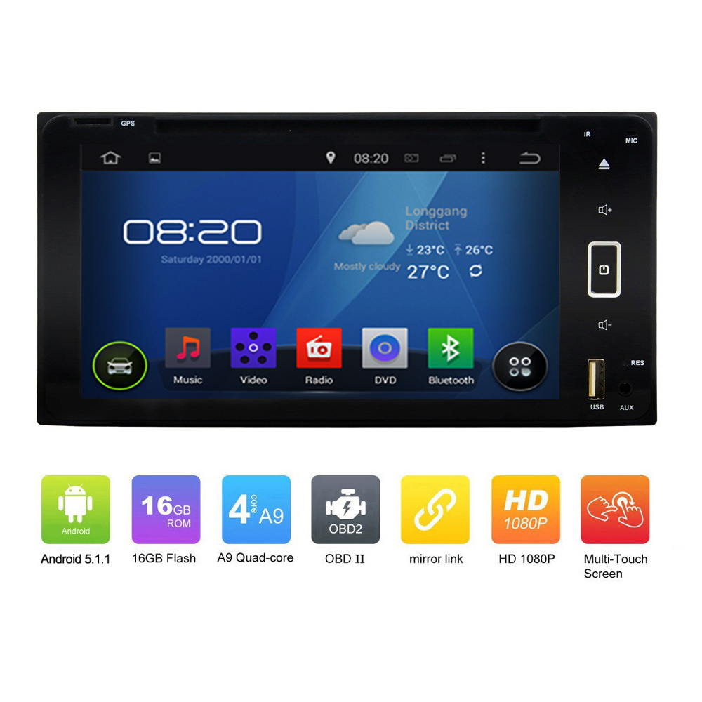 OEM Pure 2DIN ANDROID 5.1.1 CAR DVD GPS for <strong>Toyota</strong> <strong>Corolla</strong> Quad Core Touch Screen Car GPS Navgation radio audio