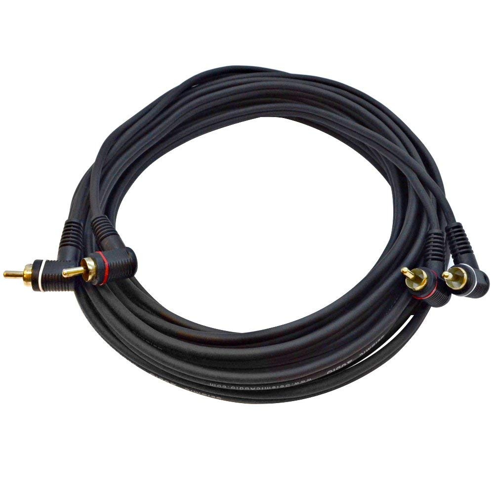 Seismic Audio - SARCARA20-20 Foot Right Angle 2 RCA Male Stereo Audio Cord - Dual Right Angle RCA Male Interconnect Cable