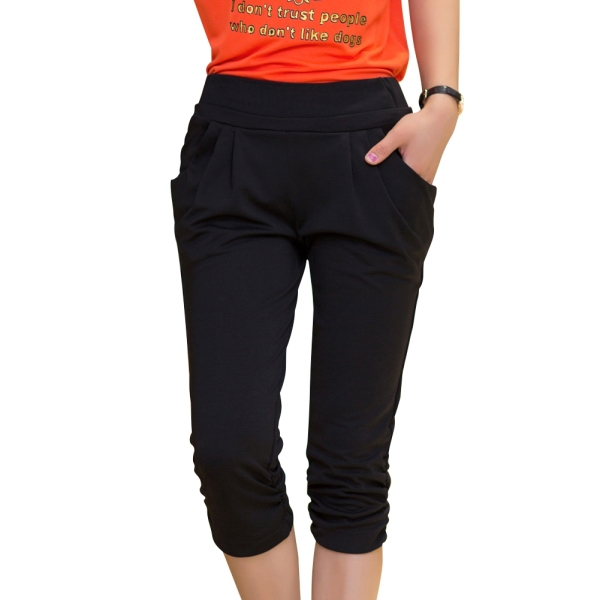 1e4550a1542 Get Quotations · All Match Summer Lady Capris Black Color Large Size L-4XL Elastic  Waist Women Skinny
